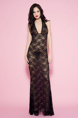 Long lace halter gown