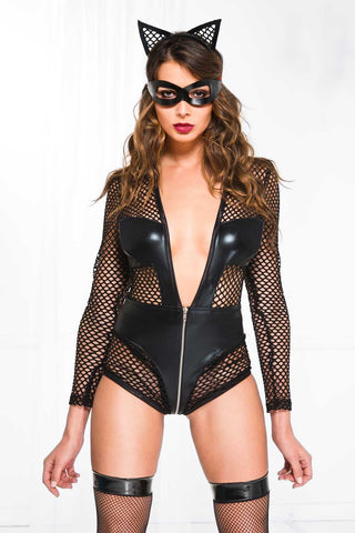 Long sleeve fishnet and wet look V shape teddy