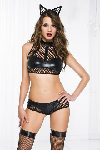 Fishnet wet look crop top with matching panty