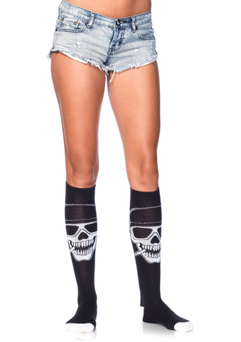 Biker Babe Skeleton Knee Highs