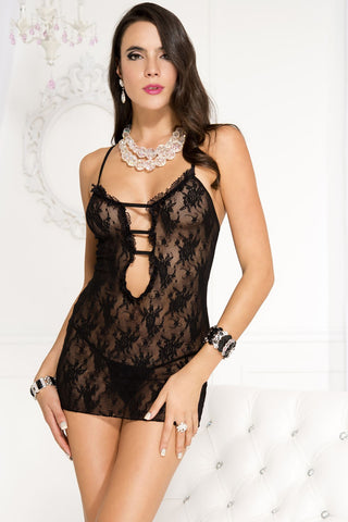 Rose lace dress with cutout front