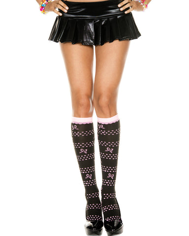 Knee Hi With Bow, Polka Dots And Hearts Design
