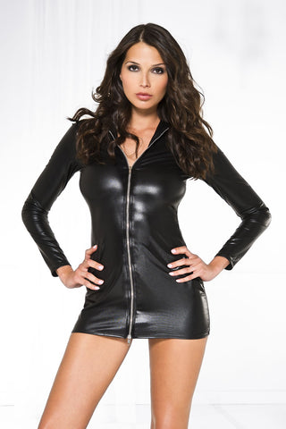 Front zipper long sleeve wet look collar dress