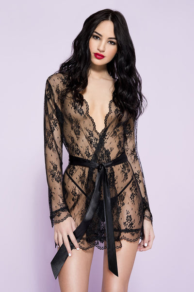 Sheer lace robe with butterfly sleeves and satin waist tie