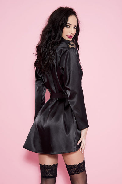 Black Long Sleeve Satin Robe