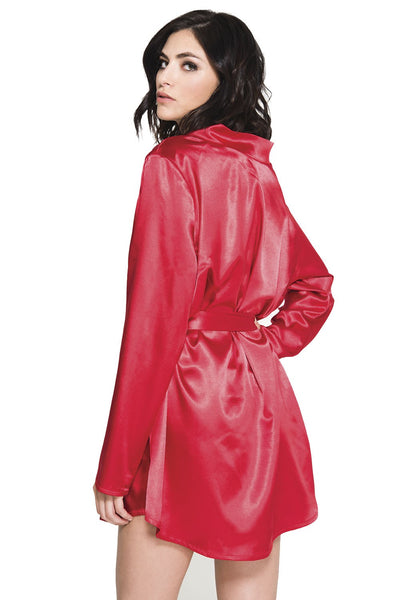 Red Black Long Sleeve Satin Robe