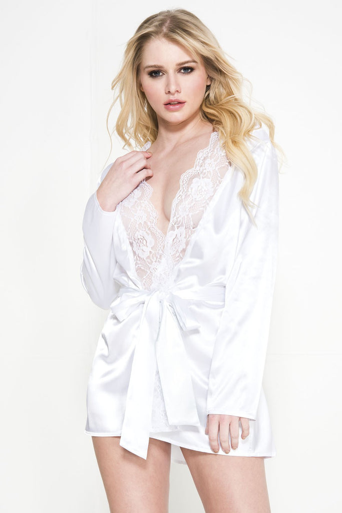 White Black Long Sleeve Satin Robe