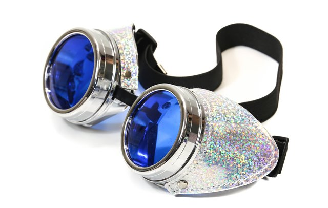 Goggles with blue lens and glitter side covers