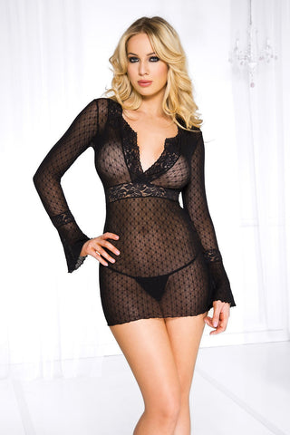 Long Sleeve Daisy Deep-V Mini Dress With G-string