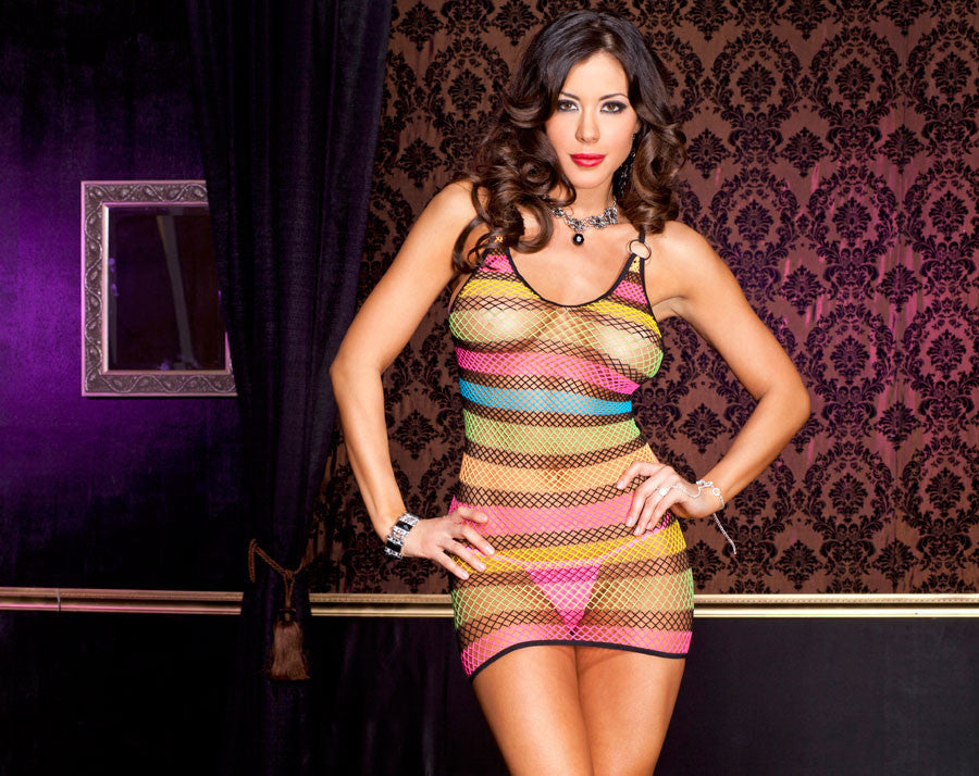 Fishnet Rainbow Mini Dress With Strappy Back