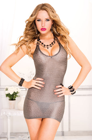 Python Look Halter Mini Dress