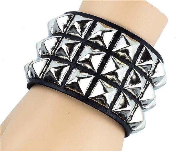 "3 Row 1/2"" Pyramid Stud on Genuine Leather Bracelet"