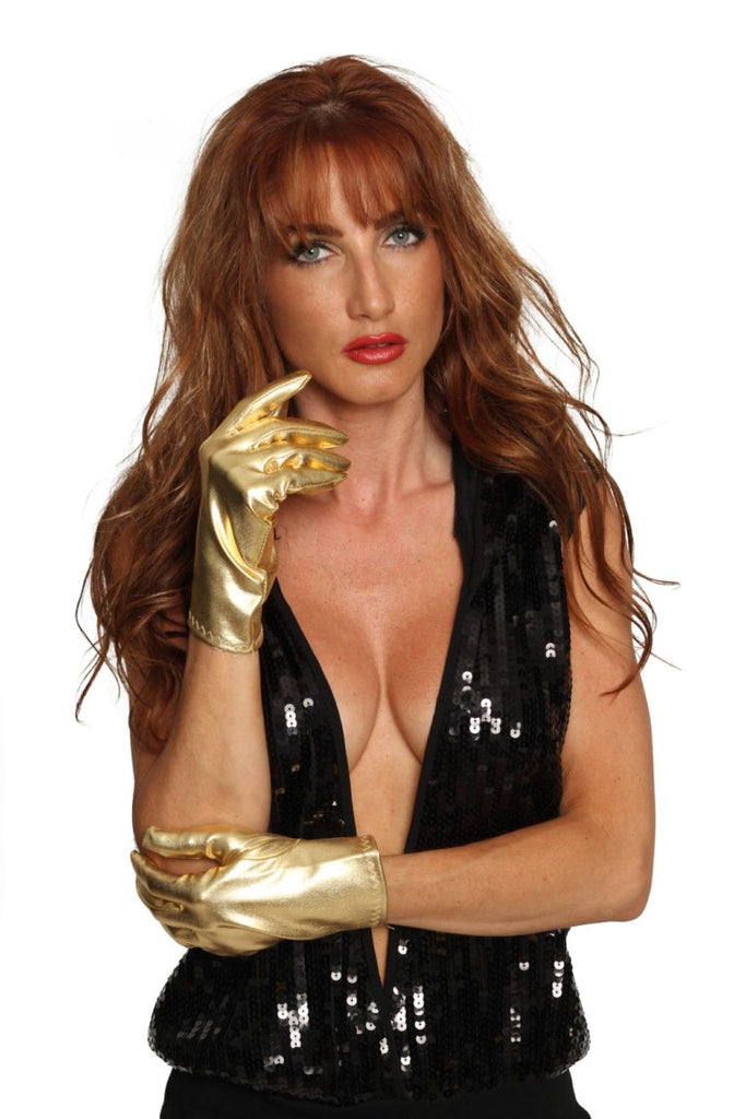 Gold Wrist Length Glove