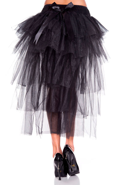 Black Long Back Multi Layered Tulle