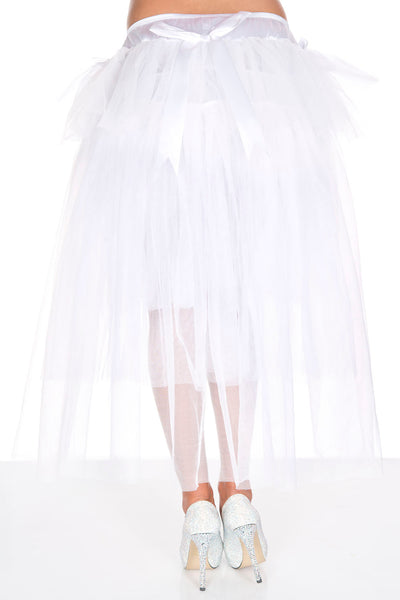 White Long Back Multi Layered Tulle