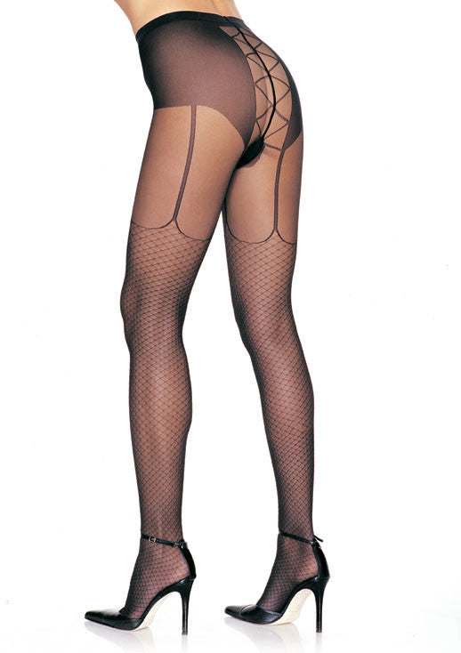 Lycra Fishnet Garter Look Lace Up Back Pantyhose