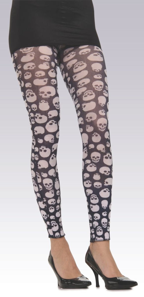 White and Black Teen Skull Tights