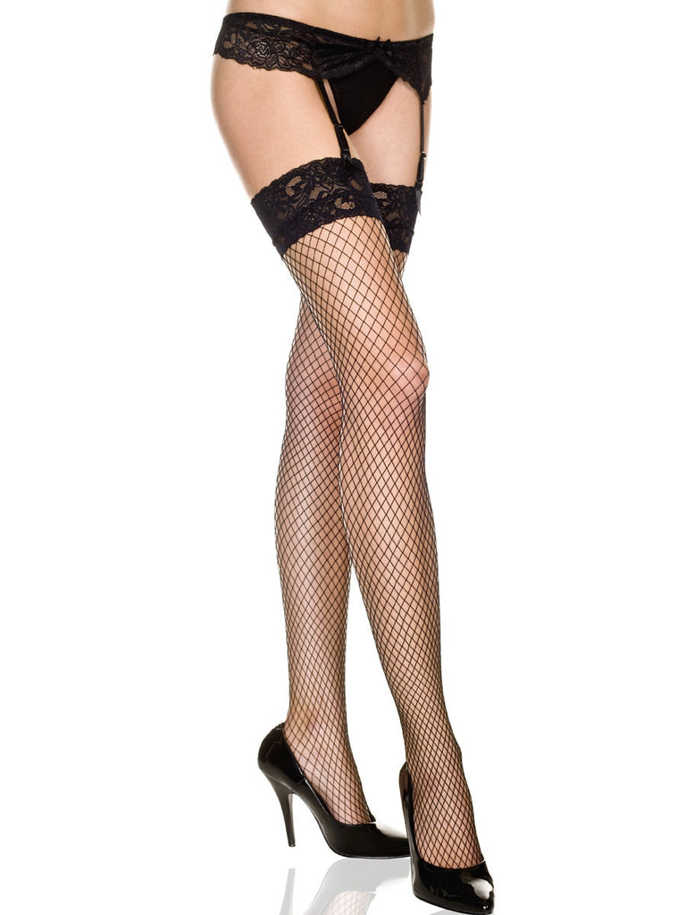 Lace Top Diamond Net Stockings And Lace Garterbelt