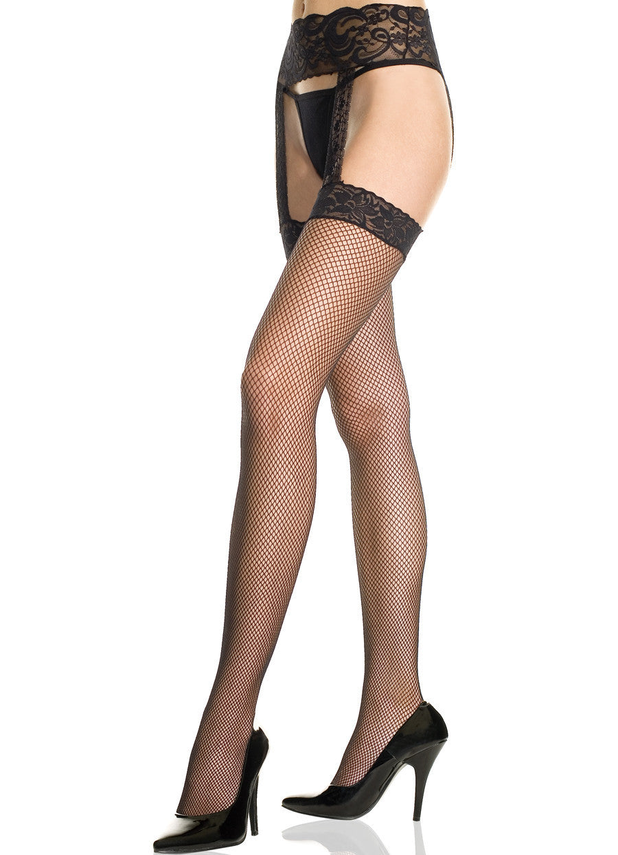 Lace Top Fishnet Garterbelt Stockings