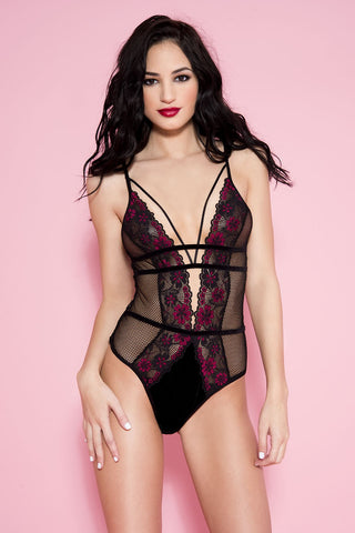Fishnet teddy with front flower details