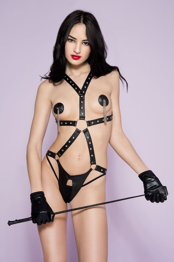 Button clasp closure O-ring crotchless teddy with pasties
