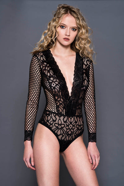 Black flower lace teddy with long fishnet sleeves