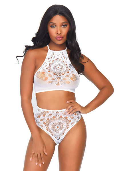 2 Pc White Lace Crop Top & Panty