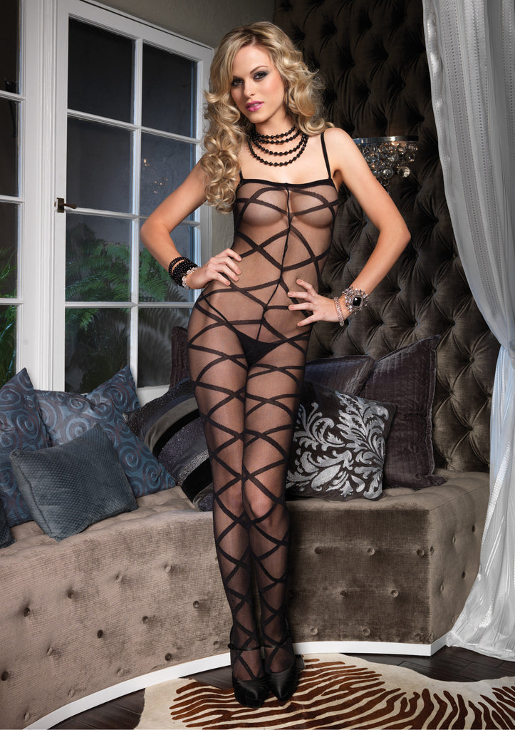 Criss Cross Sheer Bodystocking