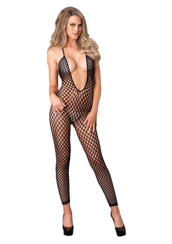Seamless Crochet Footless Low Back Bodystockings