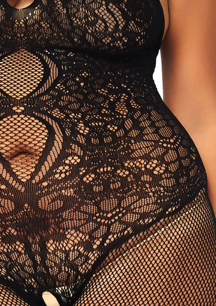 Fishnet seamless cut out halter bodystocking with floral lace hour glass detail