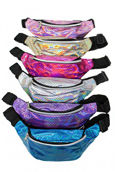 Fuchsia Shimmery Iridescent Mermaid Tail Pattern Fashion Fanny Pack