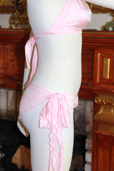 Two Piece Baby Pink Spandex Twist Bikini Top and Side Tie Short Set
