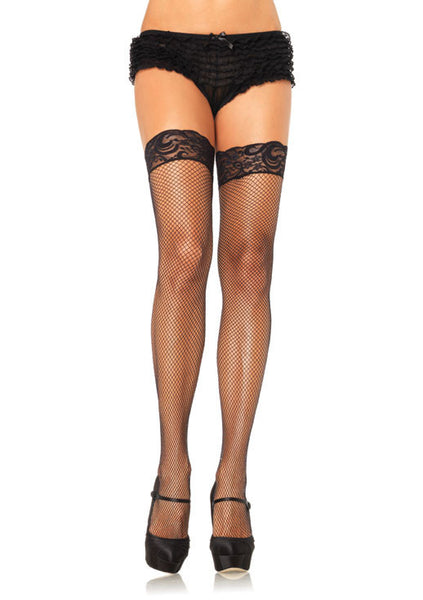Stay Up Lycar Fishnet W/ Lace Top Thigh Hi