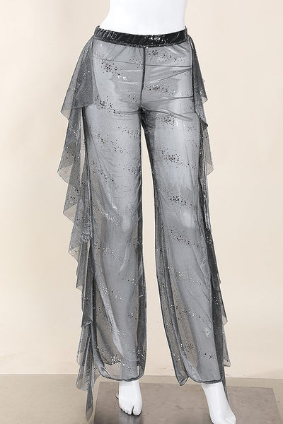 Sequined mesh ruffled pants