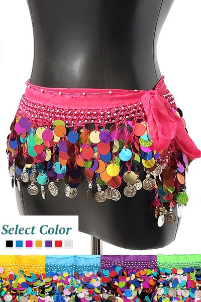 White Multi-Color Coin Belly Dance Skirt