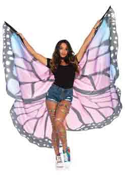 Festival Butterfly Wing Halter Cape With Wrist Straps And Support Sticks