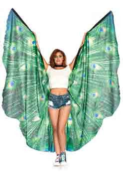 Peacock Feather Halter Wing Cape With Wrist Straps And Support Sticks
