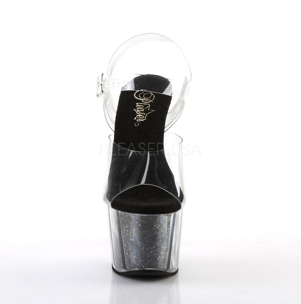 "7"" Clear Heel on Black Glitter Platform"