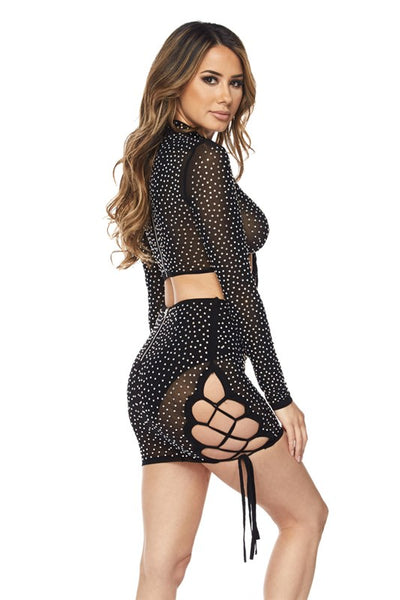 long sleeve mesh sets with rhinestone design