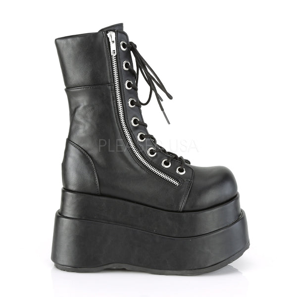 "4 1/2"" Vegan Leather Platform Lace-Up Front Mid-Calf Boot with Metal Zip"