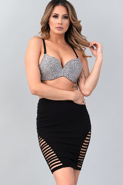 BLACK CLEAR RHINESTONE COVERED BRA