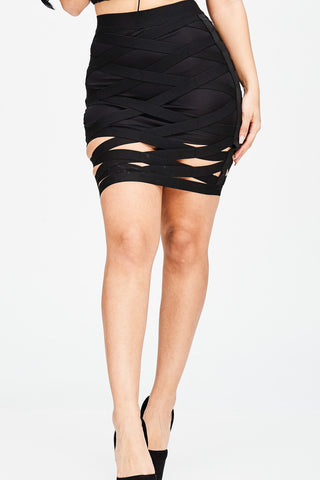 CAGED BANDAGE SKIRT