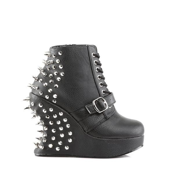 Platform Wedge Lace Up Ankle High Boot with Spike Stud Embellishment
