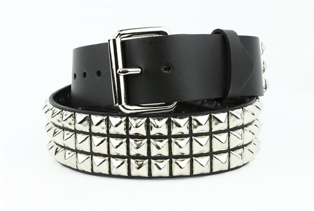 "3 Row 1/2"" Pyramid Stud Belt Genuine Leather"