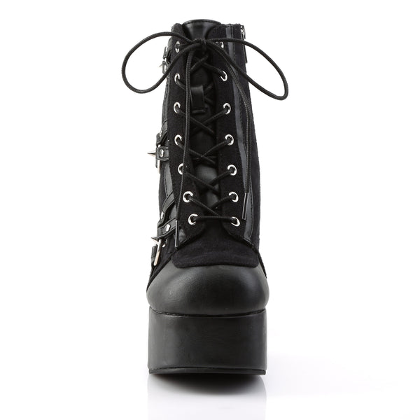 Platform Lace-Up Front Ankle Boot with Spiky Studs