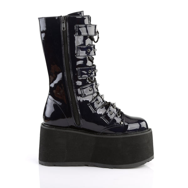 "3 1/2"" Platform Lace-Up Front Mid-Calf Boot Featuring 6 Cone-Studded Buckle Straps, Inside Metal Zip Closure"