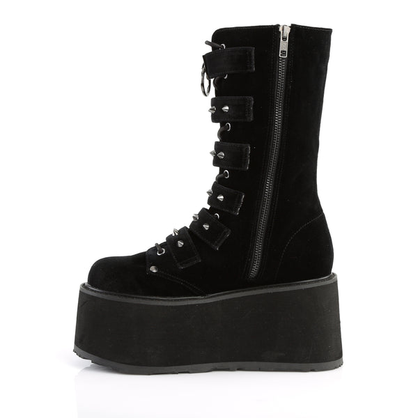 "3 1/2"" Black Vel Platform Lace-Up Front Mid-Calf Boot Featuring 6 Cone-Studded Buckle Straps, Inside Metal Zip Closure"