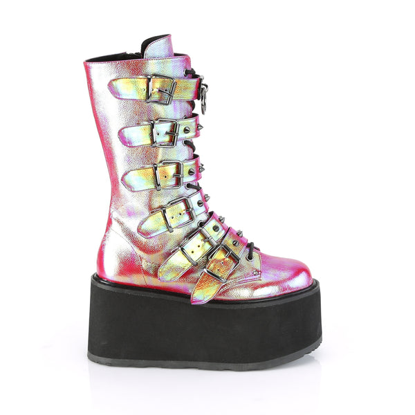 "3 1/2"" Pink Green Iridescent Platform Lace-Up Front Mid-Calf Boot Featuring 6 Cone-Studded Buckle Straps, Inside Metal Zip Closure"