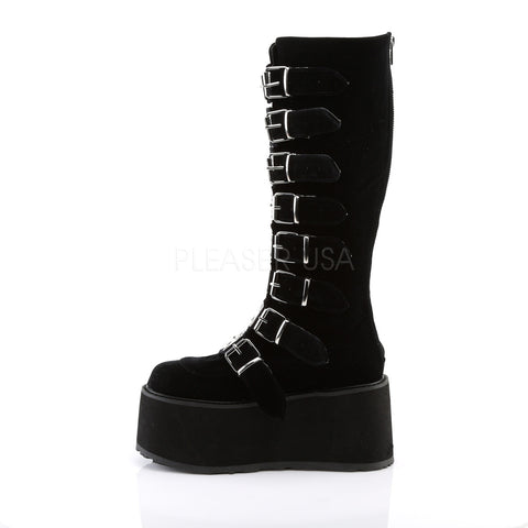 "3 1/2"" Platform Black Velvet Vegan Knee High Boot"