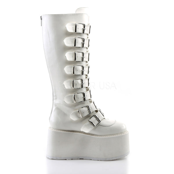 "3 1/2"" Platform White Vegan Knee High Boot"
